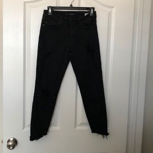 KanCan cropped distressed black jeans